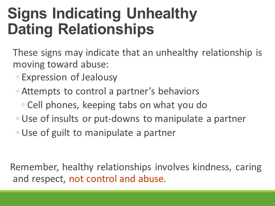 Signs Indicating Unhealthy Dating Relationships