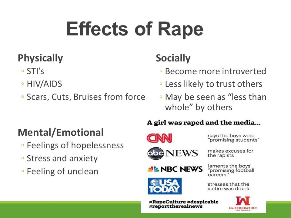 Effects of Rape Physically Socially Mental/Emotional STI's HIV/AIDS