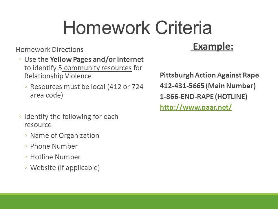 Homework Criteria Example: Homework Directions