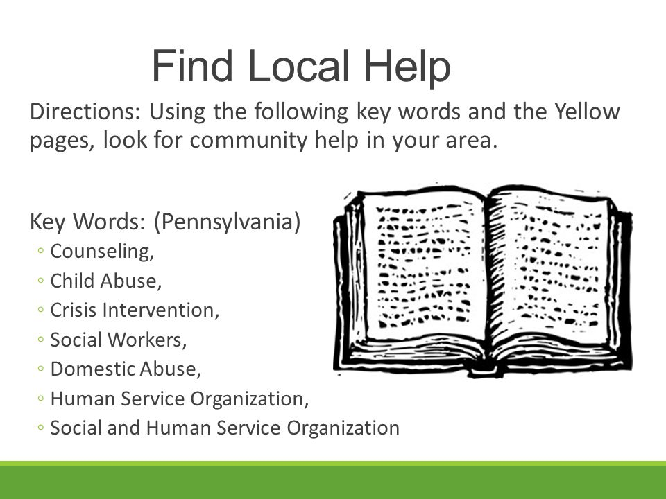 Find Local Help Directions: Using the following key words and the Yellow pages, look for community help in your area.