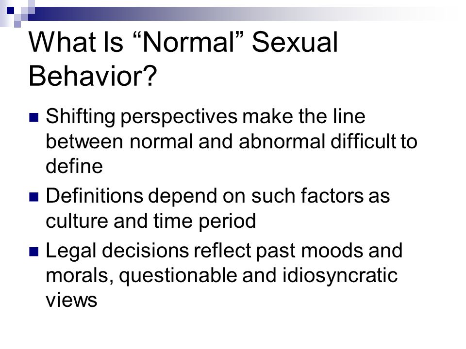 What Is Normal Sexual Behavior