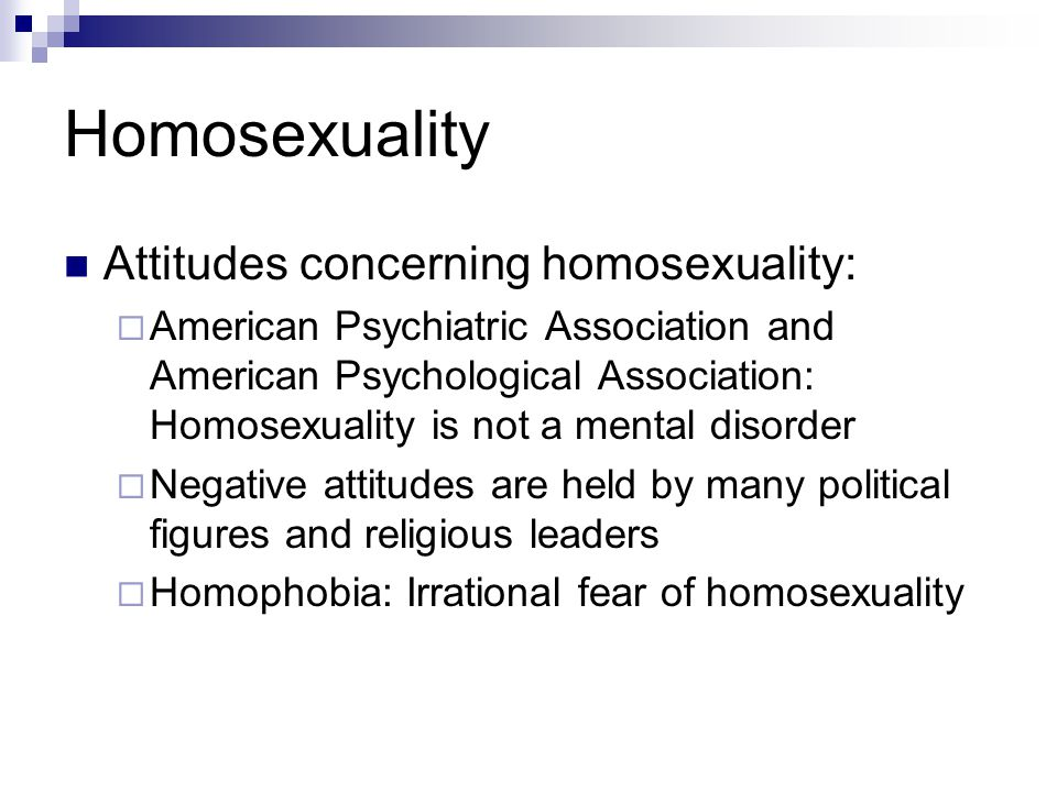 Homosexuality Attitudes concerning homosexuality:
