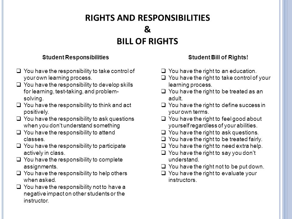 RIGHTS AND RESPONSIBILITIES Student Responsibilities