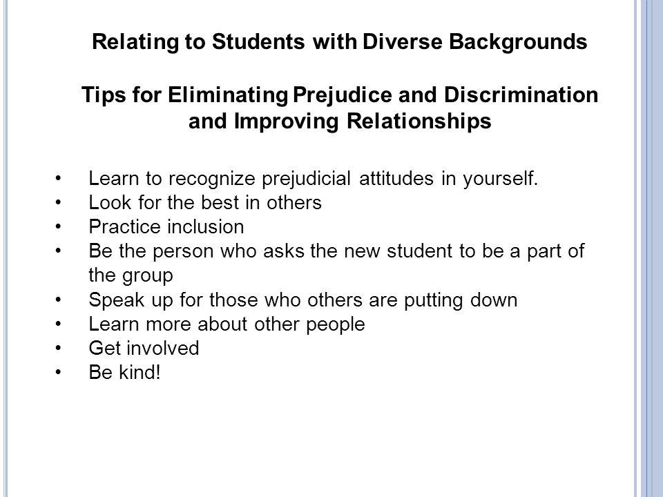 Tips for Eliminating Prejudice and Discrimination