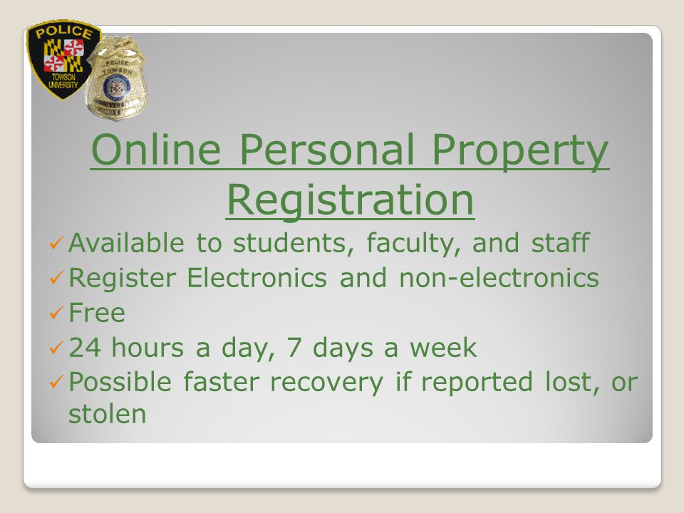 Online Personal Property Registration