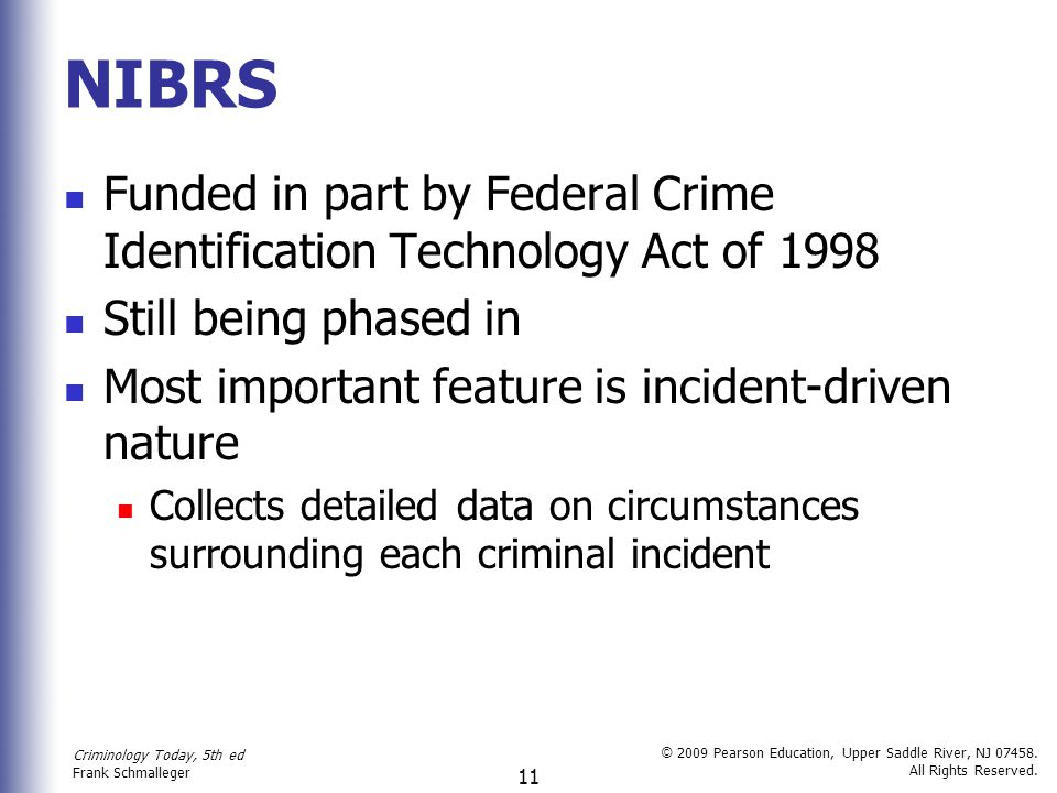 NIBRS Funded in part by Federal Crime Identification Technology Act of 1998. Still being phased in.
