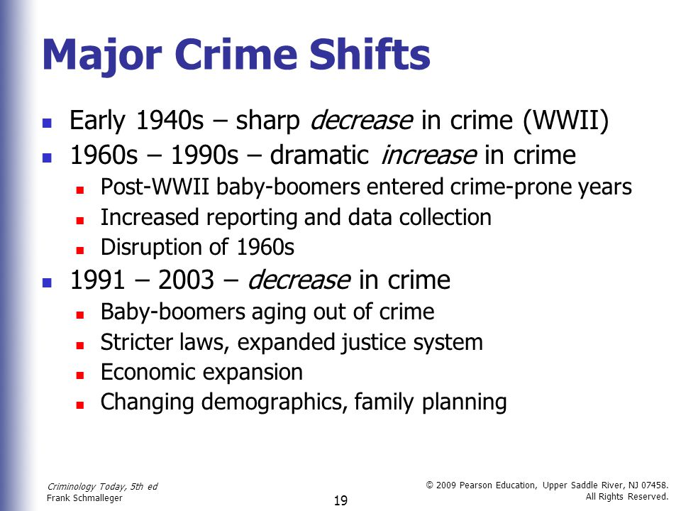 Major Crime Shifts Early 1940s – sharp decrease in crime (WWII)