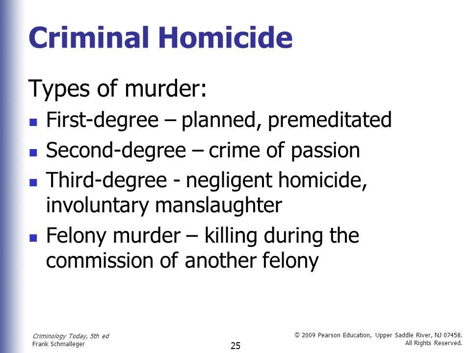 Criminal Homicide Types of murder: