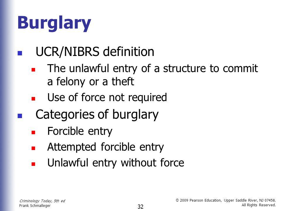 Burglary UCR/NIBRS definition Categories of burglary