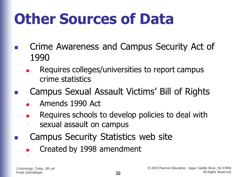 Other Sources of Data Crime Awareness and Campus Security Act of 1990