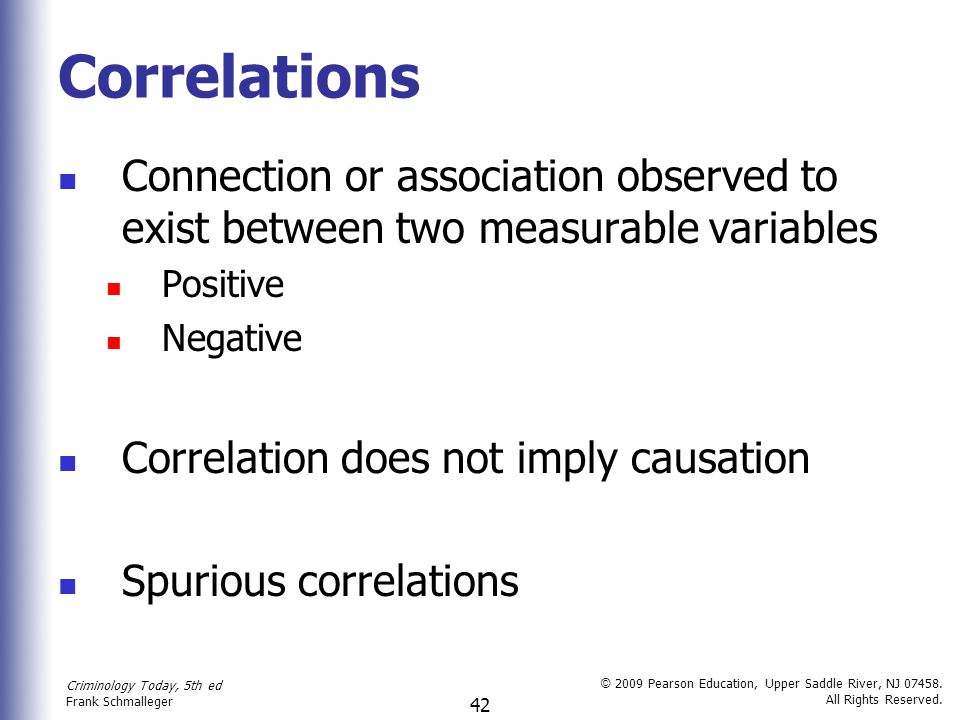 Correlations Connection or association observed to exist between two measurable variables. Positive.