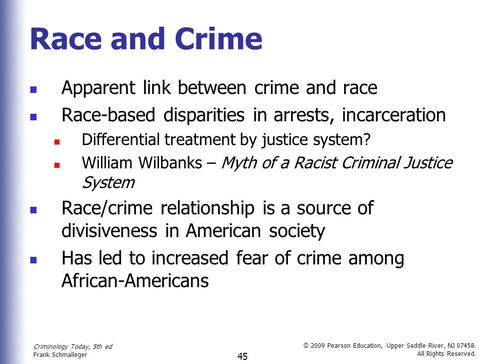 Race and Crime Apparent link between crime and race
