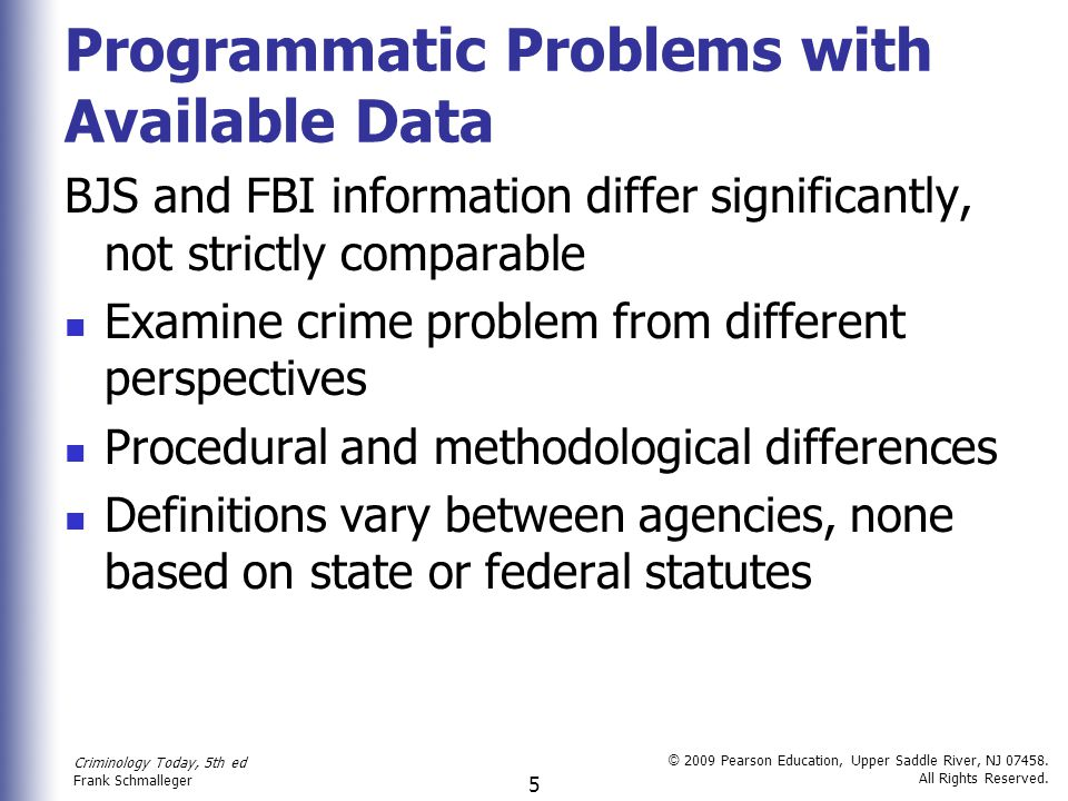 Programmatic Problems with Available Data