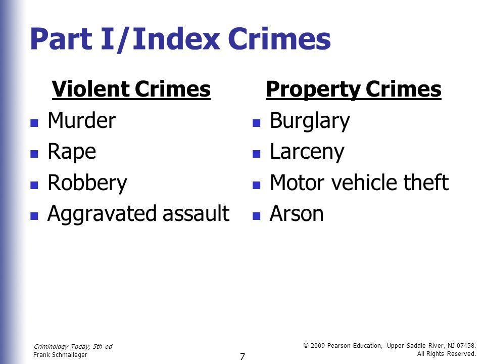 Part I/Index Crimes Violent Crimes Murder Rape Robbery