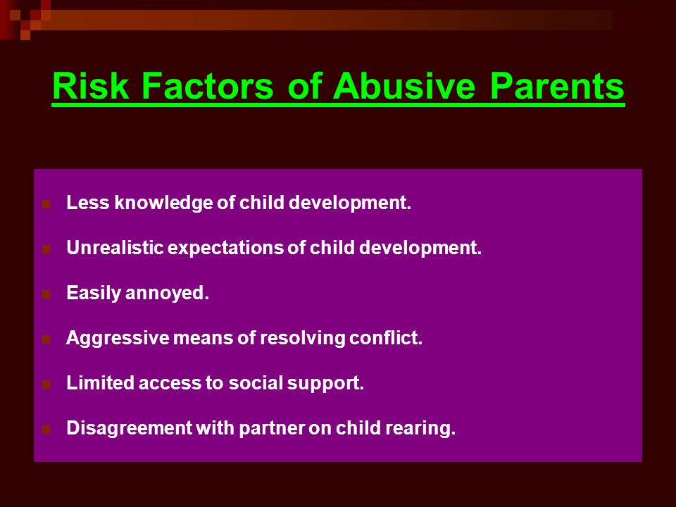Risk Factors of Abusive Parents
