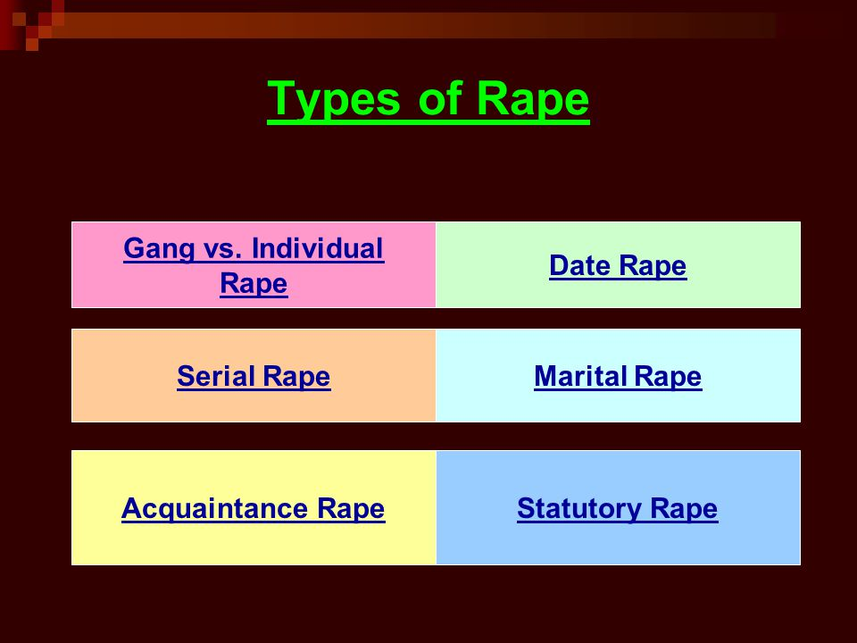 Types of Rape Gang vs. Individual Rape Date Rape Serial Rape