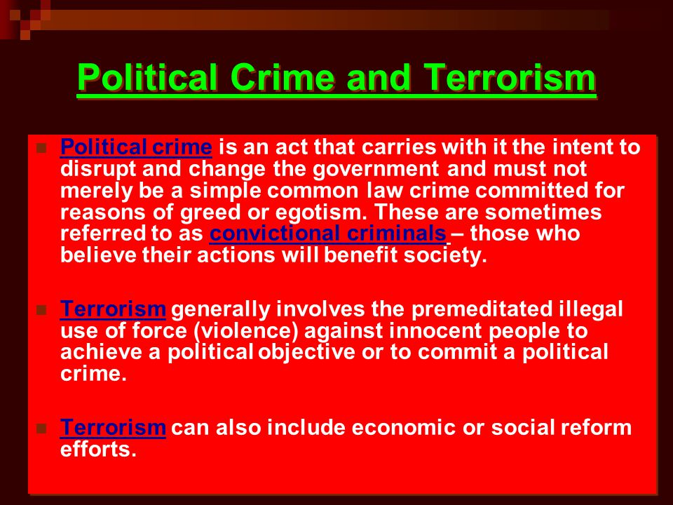 Political Crime and Terrorism