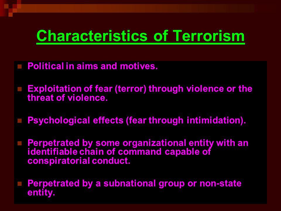 Characteristics of Terrorism