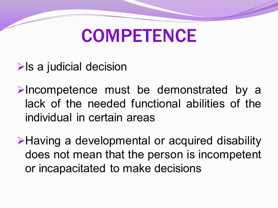 COMPETENCE Is a judicial decision