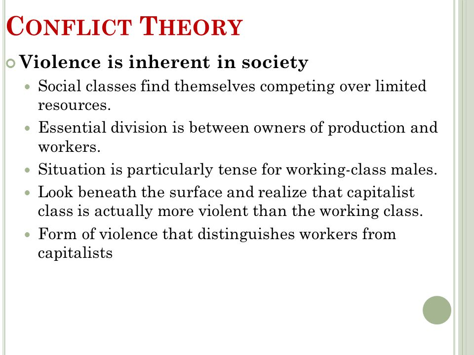 Conflict Theory Violence is inherent in society
