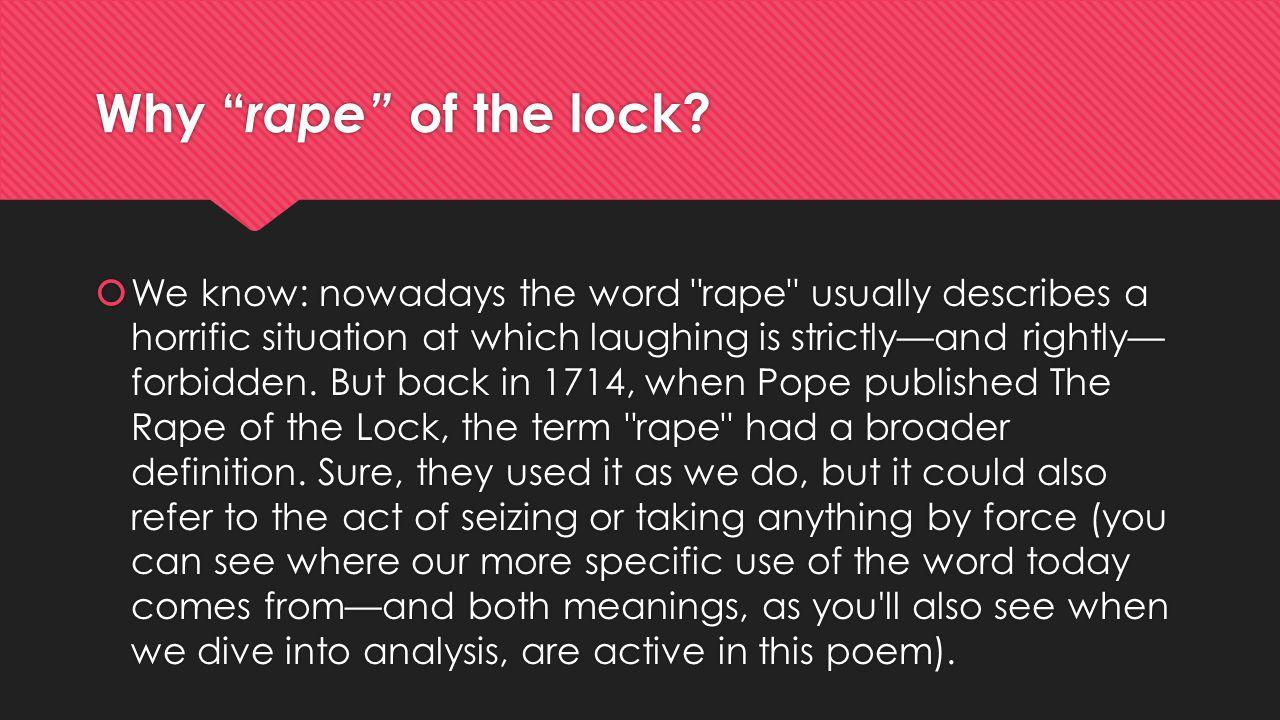 Why rape of the lock