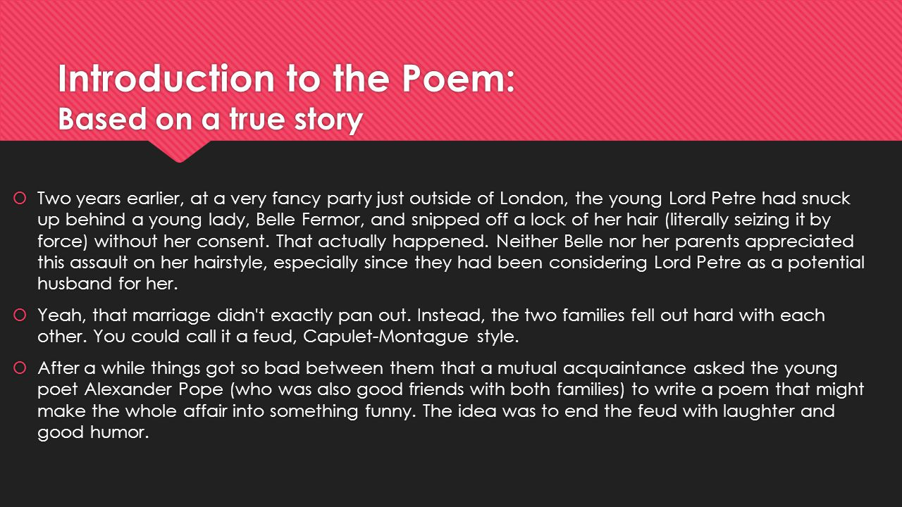 Introduction to the Poem: Based on a true story