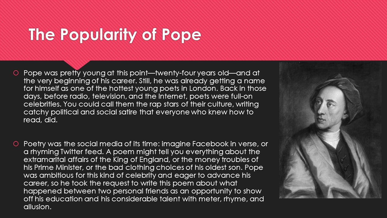 The Popularity of Pope