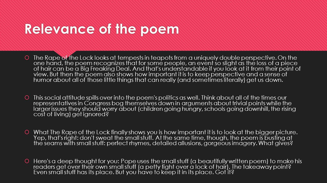 Relevance of the poem