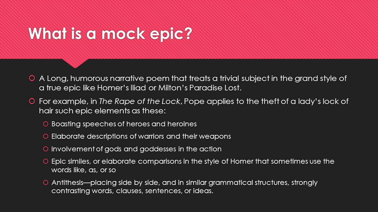 What is a mock epic