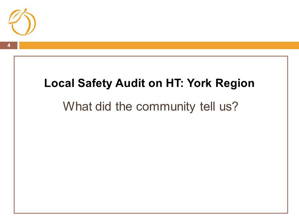 Local Safety Audit on HT: York Region