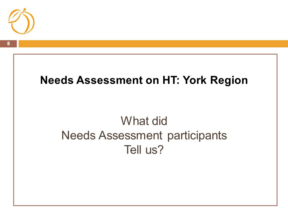 Needs Assessment participants Tell us