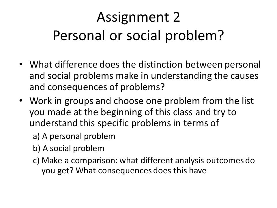 Assignment 2 Personal or social problem