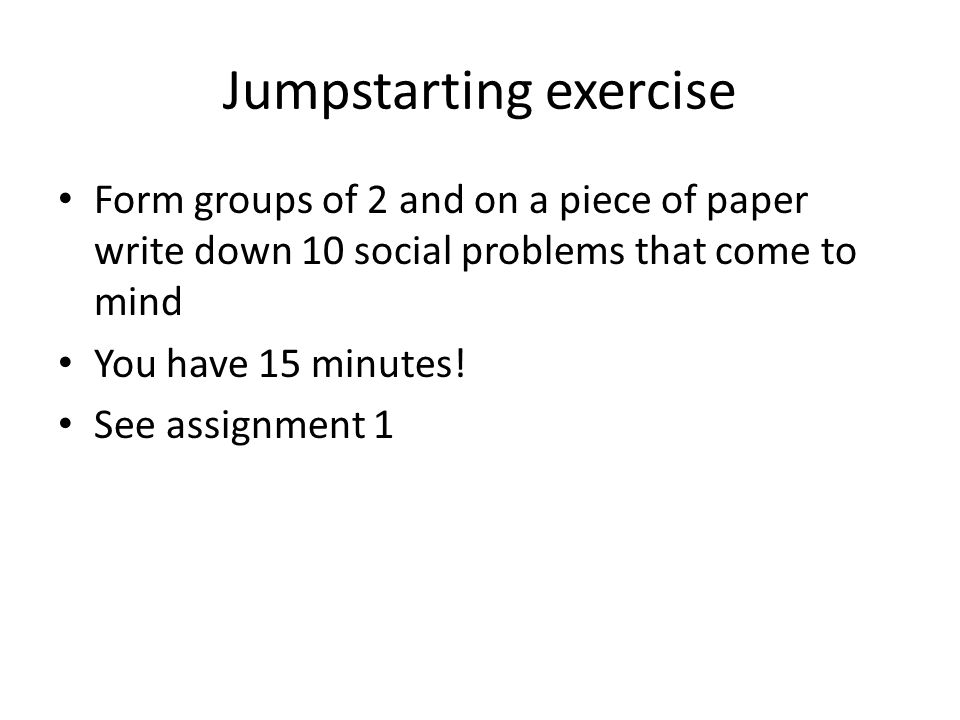 Jumpstarting exercise