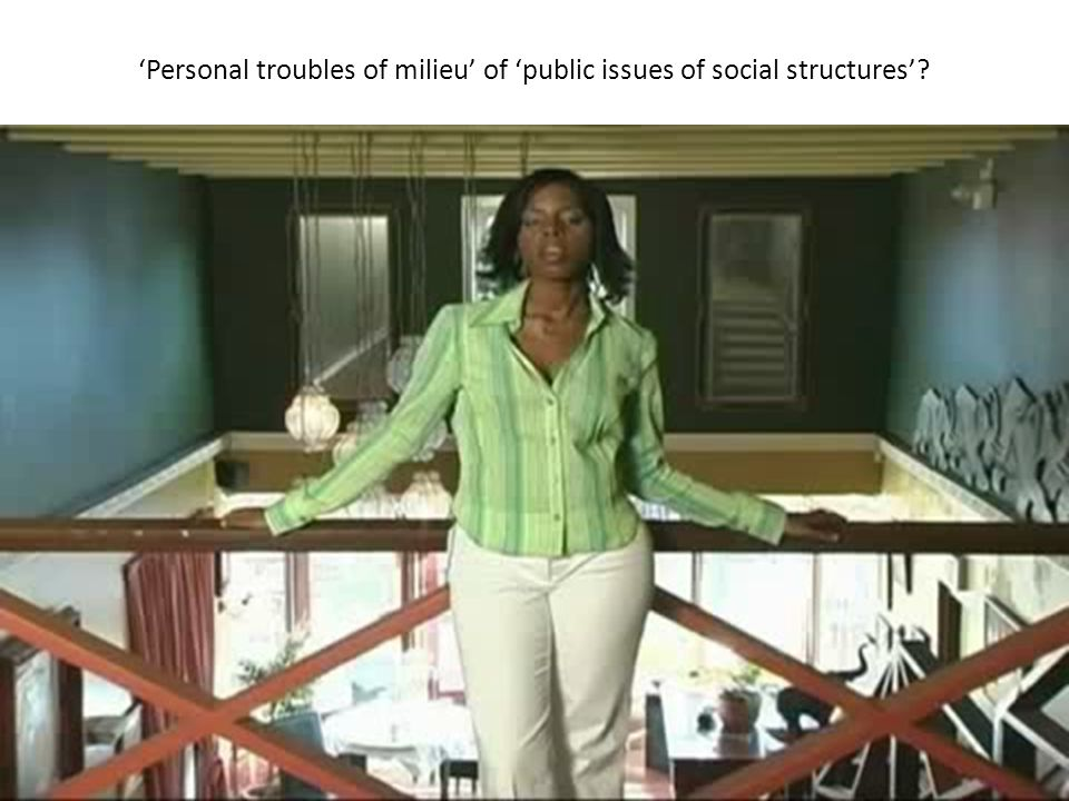 'Personal troubles of milieu' of 'public issues of social structures'