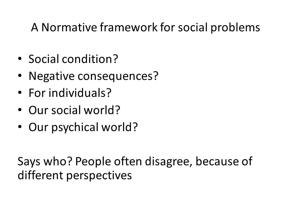 A Normative framework for social problems