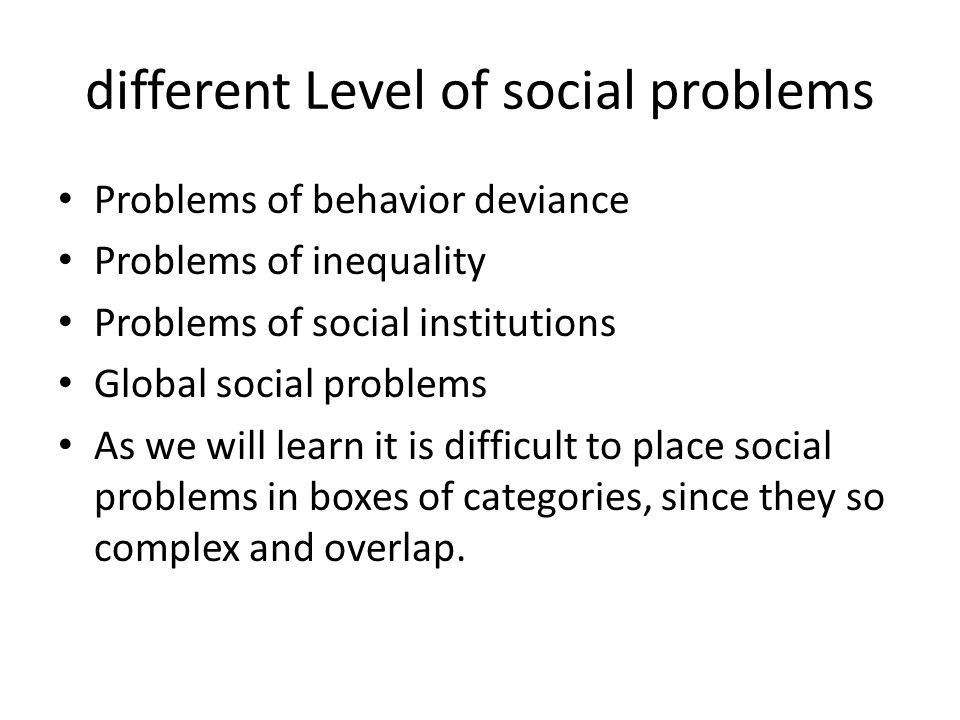 different Level of social problems