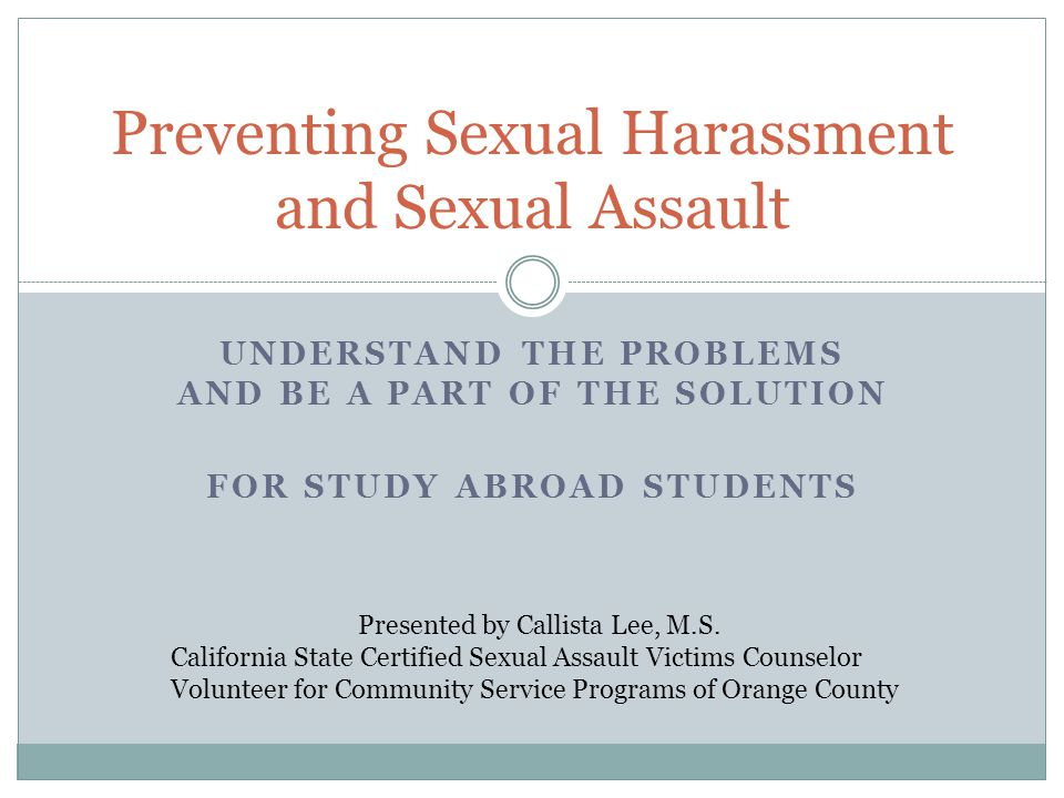 Preventing Sexual Harassment and Sexual Assault