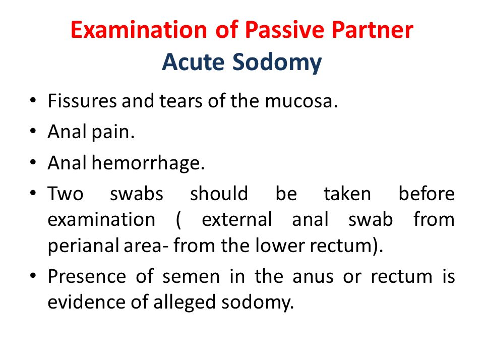 Examination of Passive Partner Acute Sodomy