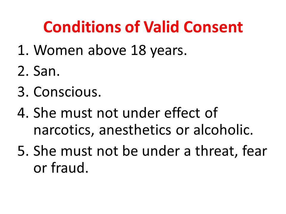 Conditions of Valid Consent