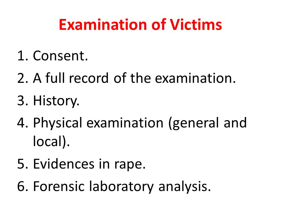 Examination of Victims