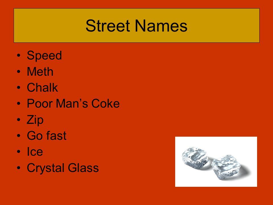 Street Names Speed Meth Chalk Poor Man's Coke Zip Go fast Ice