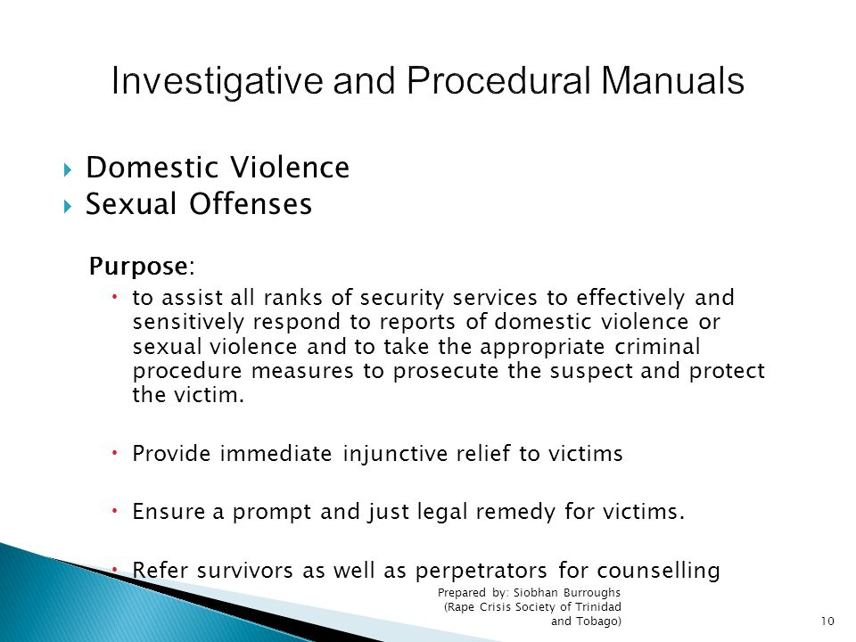 Investigative and Procedural Manuals