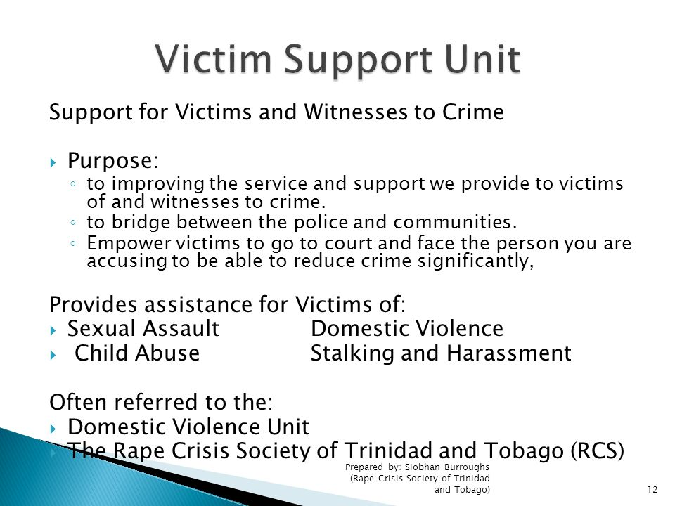 Victim Support Unit Support for Victims and Witnesses to Crime