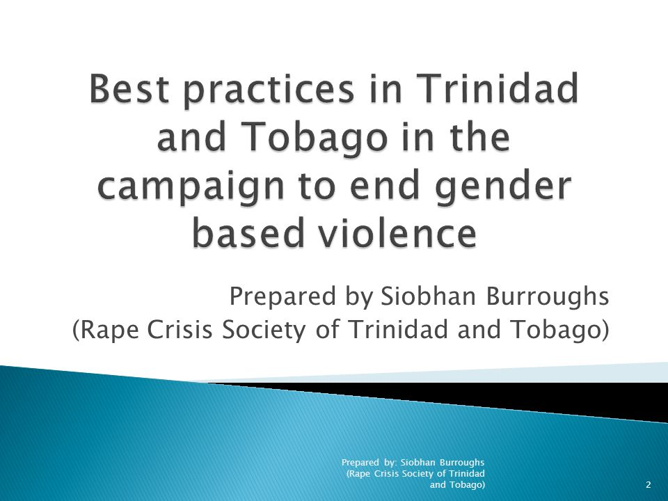Best practices in Trinidad and Tobago in the campaign to end gender based violence