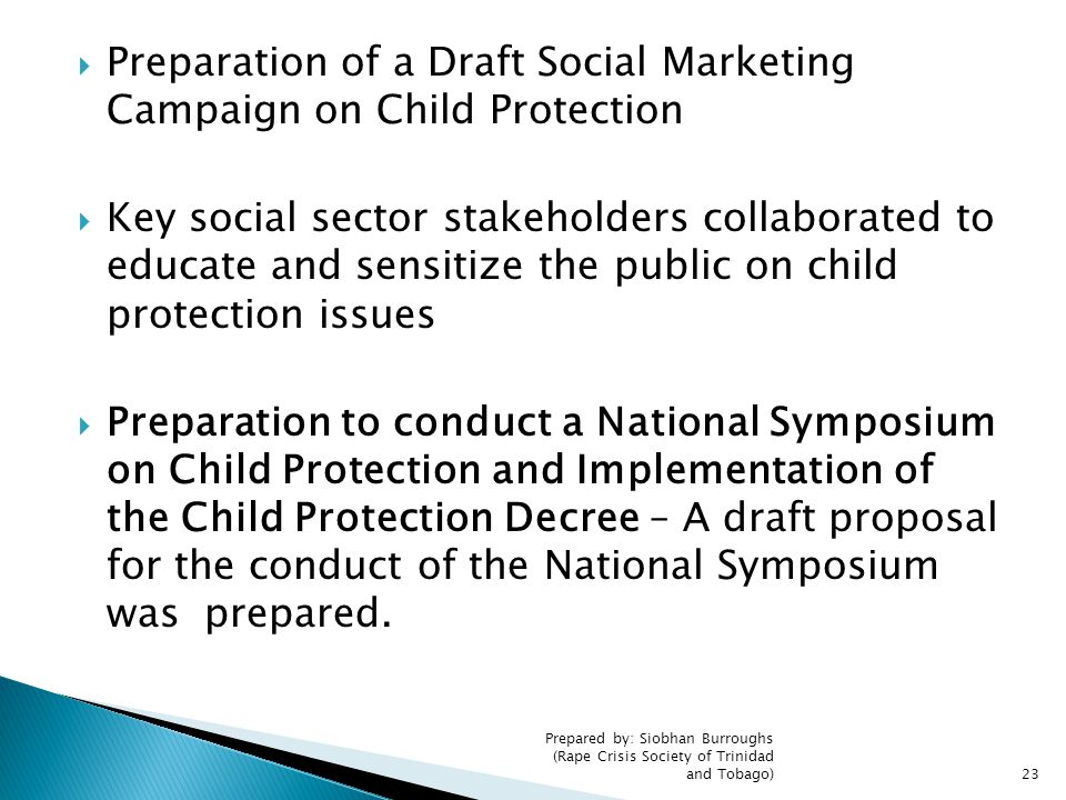 Preparation of a Draft Social Marketing Campaign on Child Protection