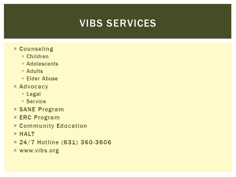 Vibs services Counseling Advocacy SANE Program ERC Program