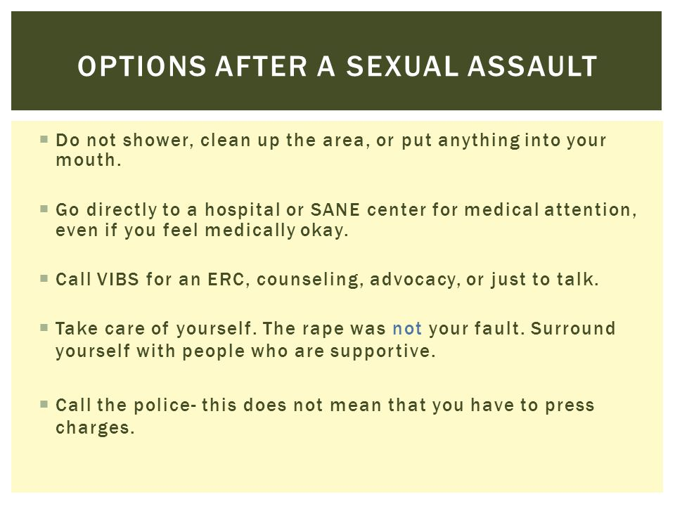 Options after a sexual assault