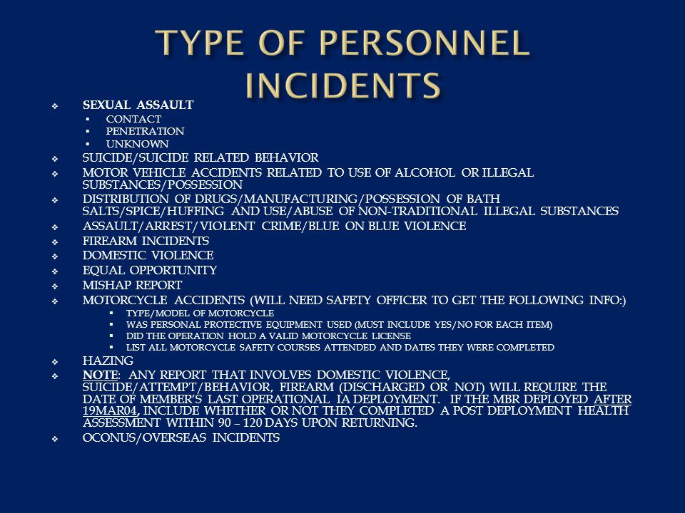 TYPE OF PERSONNEL INCIDENTS