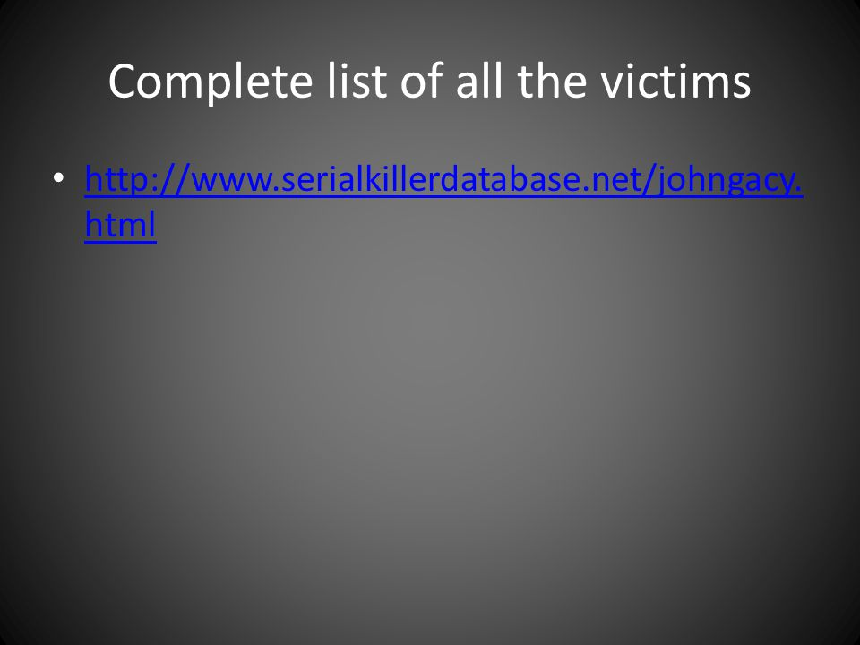 Complete list of all the victims