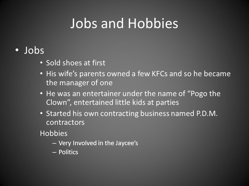 Jobs and Hobbies Jobs Sold shoes at first